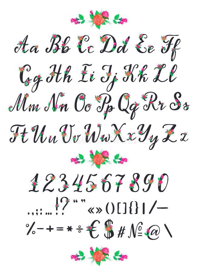Вектор ABC алфавита цветя алфавитный шрифт с зацветенными письмами примечания алфавитной иллюстрации свадьбы оформления иллюстрация штока