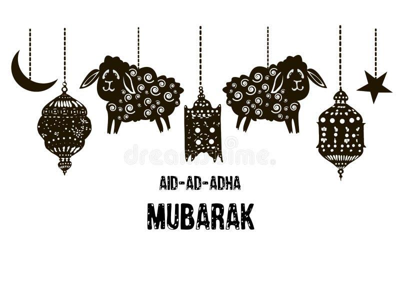 Вектор Al Adha Mubarak Eid Фестиваль поддачи Известный фестиваль мусульманского торжества общины Жертвенный агнец иллюстрация вектора