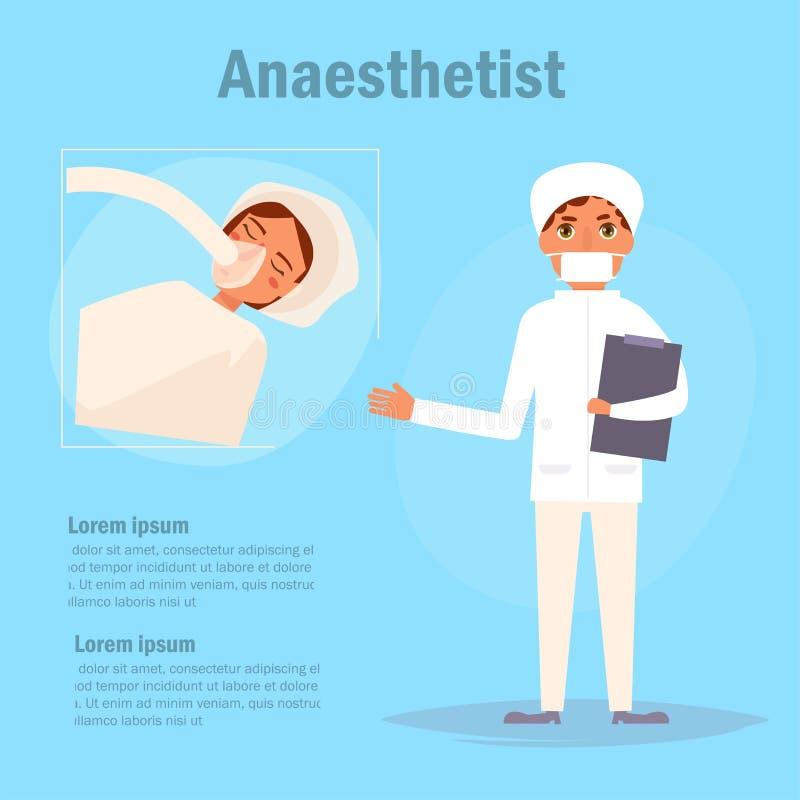 Вектор anaesthetist доктора шарж бесплатная иллюстрация