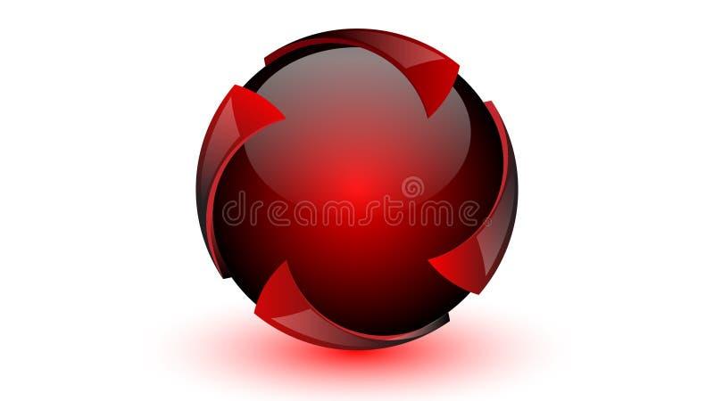 Вектор 3d красной сферы современный иллюстрация штока