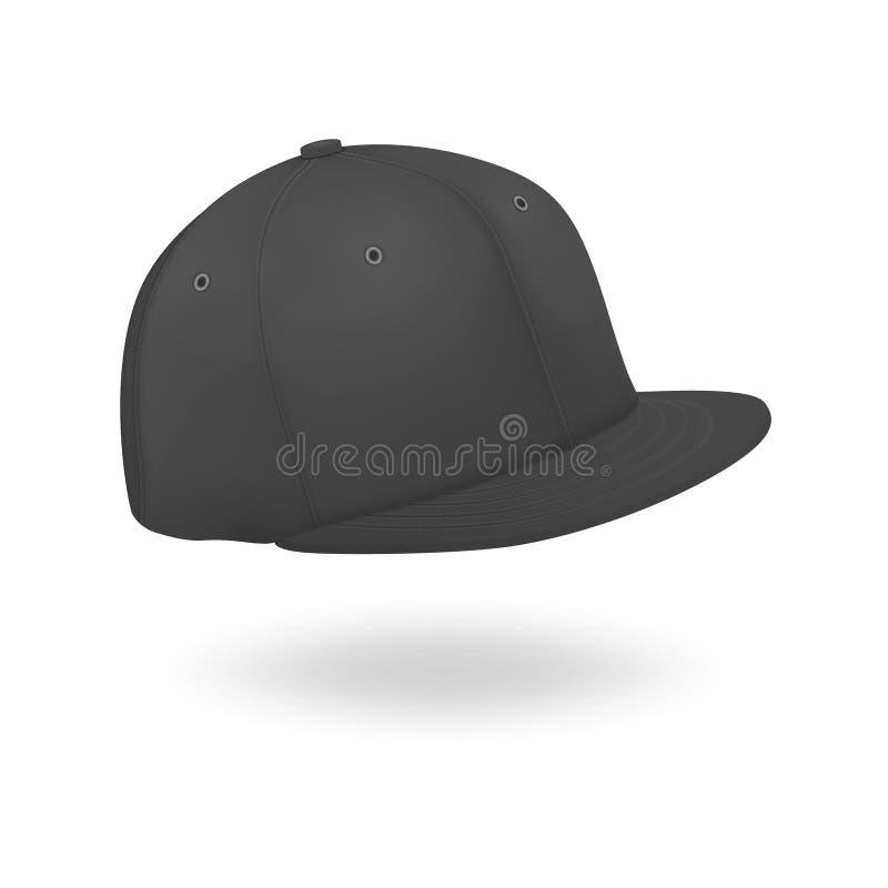 Вектор 3d Реалистичный рендер Black Blank Bab Snapback Cap Icon Закрытие изолировано на белом фоне Шаблон оформления бесплатная иллюстрация