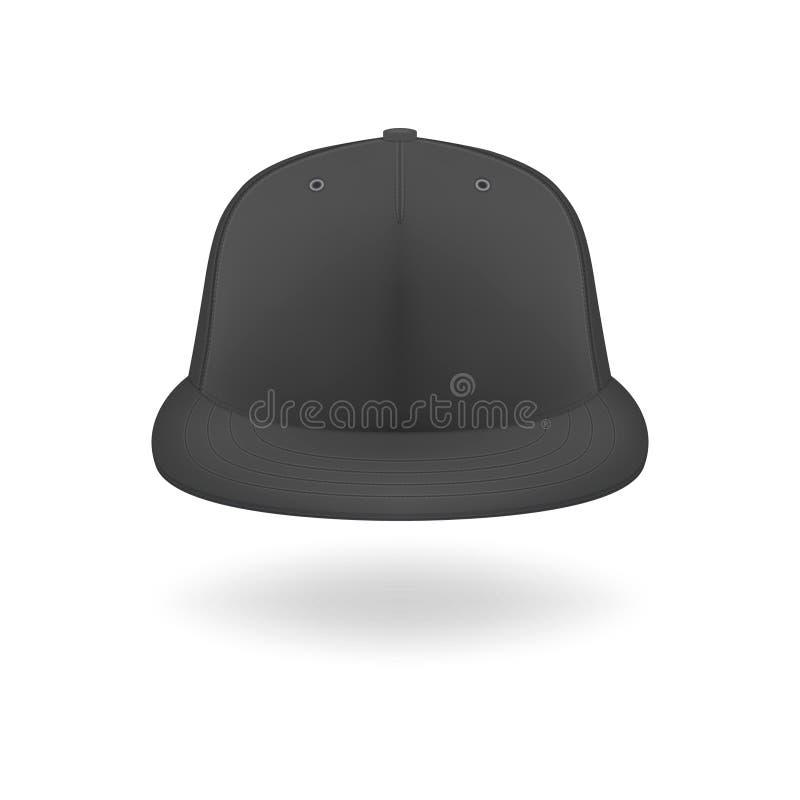 Вектор 3d Реалистичный рендер Black Blank Bab Snapback Cap Icon Закрытие изолировано на белом фоне Шаблон оформления иллюстрация вектора