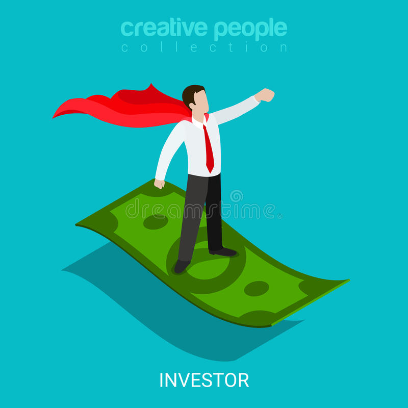 Вектор 3d супергероя евангелиста финансирования инвестора плоский равновеликий иллюстрация вектора
