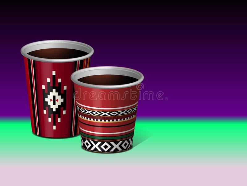 Вектор 3D чашки аравийской красной традиционной бумаги темы Sadu пластичный бесплатная иллюстрация