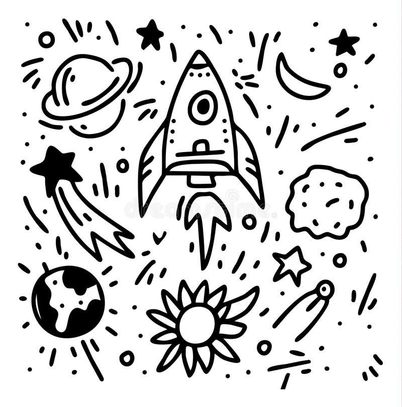 Вектор doodle руки вычерченный установил космос Изолированная иллюстрация вектора бесплатная иллюстрация