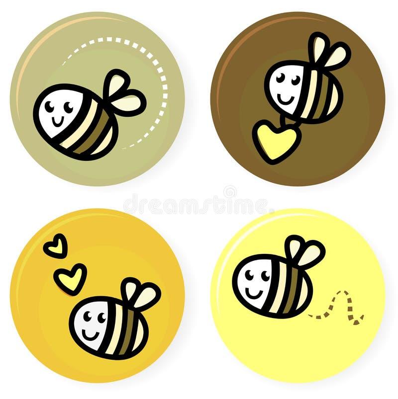 вектор doodle собрания пчелы милый иллюстрация вектора