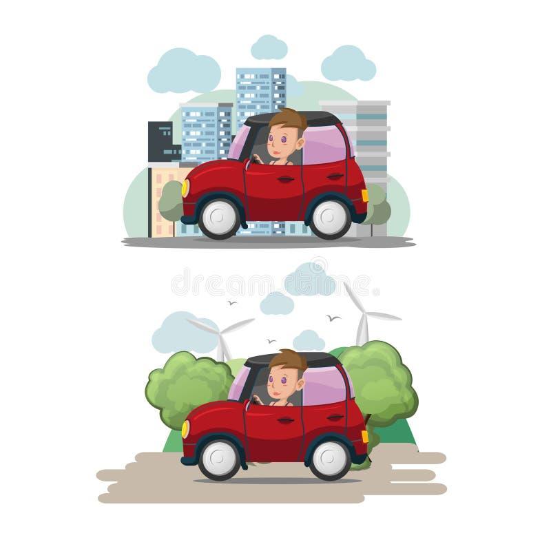 Вектор Eco города автомобиля водителя женщины красный бесплатная иллюстрация