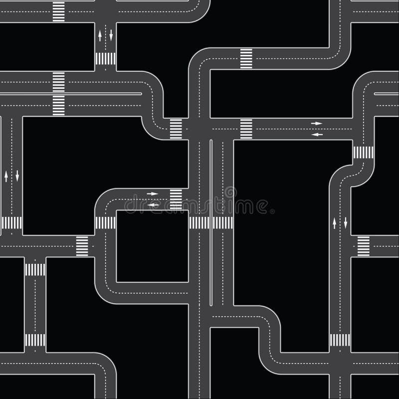 вектор editable текстуры дорог безшовной урбанский иллюстрация вектора