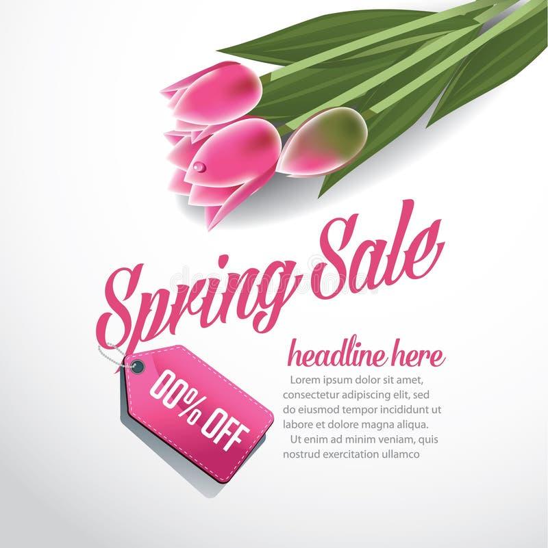 Вектор EPS 10 шаблона предпосылки рекламы продажи весны иллюстрация штока