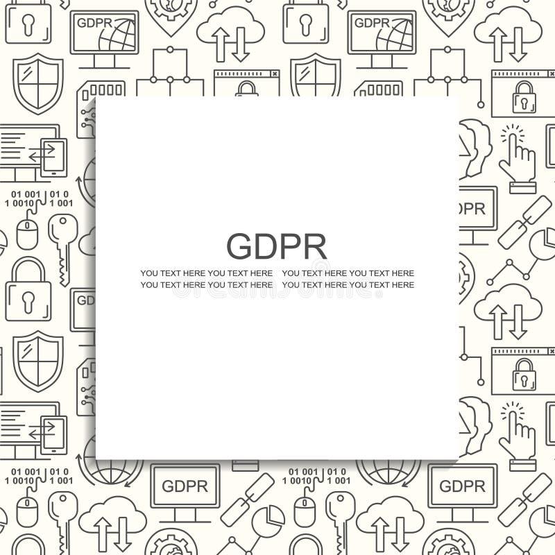 Вектор GDPR - картина общей защиты данных регулированная безшовная с линией значками стиля Уединение сети и безопасность черным п иллюстрация штока