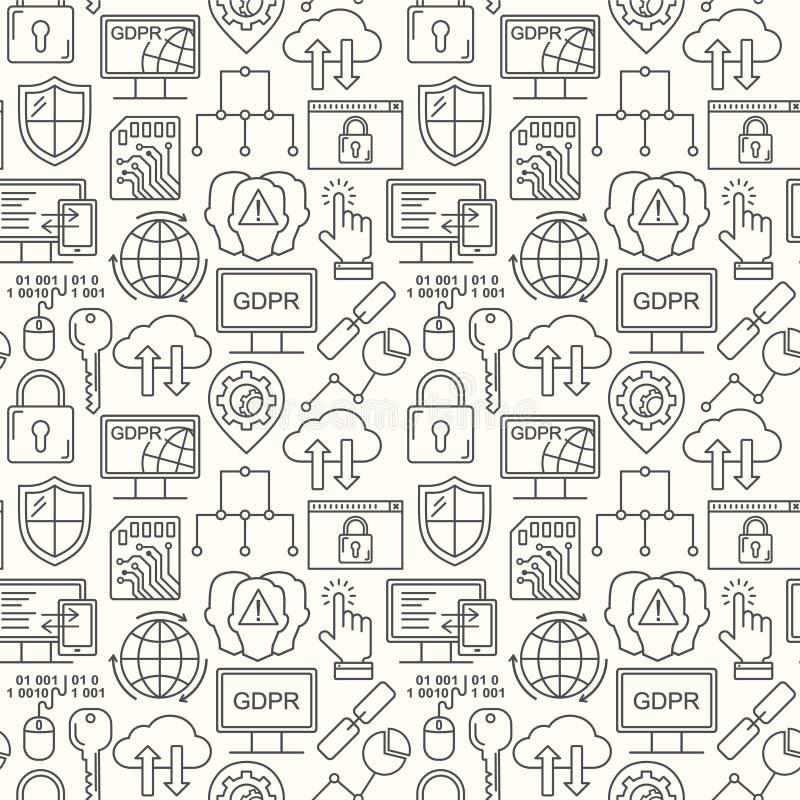 Вектор GDPR - картина общей защиты данных регулированная безшовная с линией значками стиля Уединение сети и безопасность черным п бесплатная иллюстрация