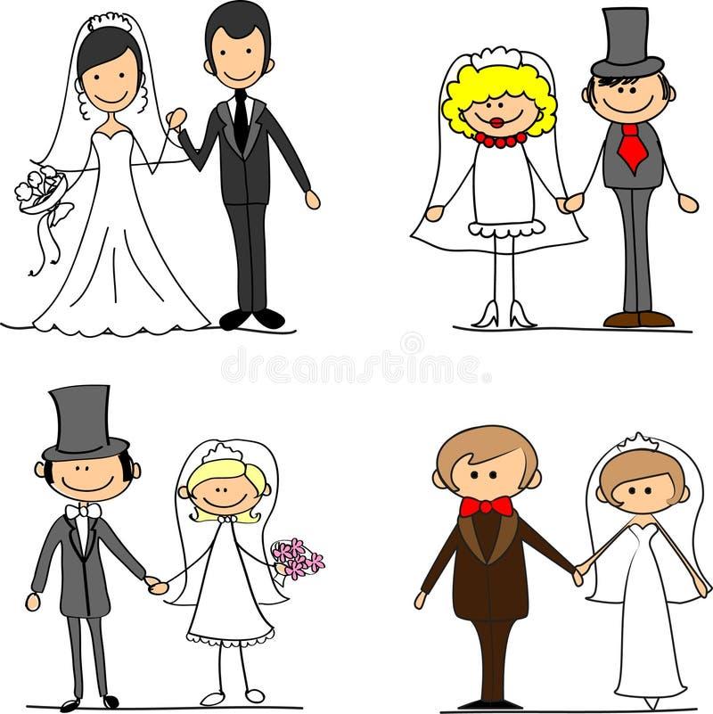 вектор groom шаржа невесты установленный иллюстрация вектора