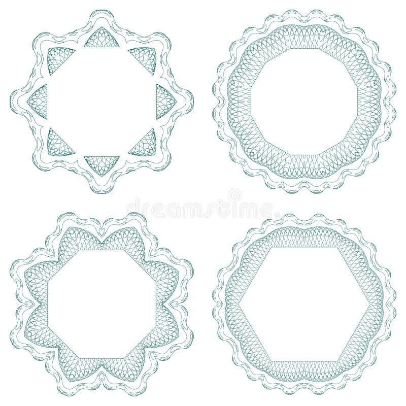 вектор guilloche установленный розетками бесплатная иллюстрация