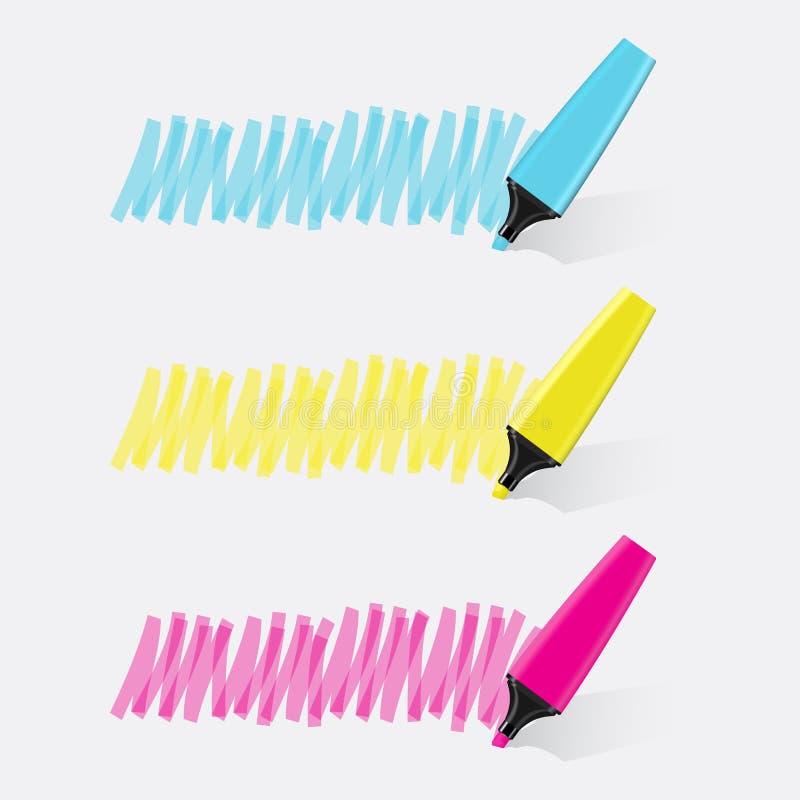 Вектор 3 highlighter установленный стоковое изображение