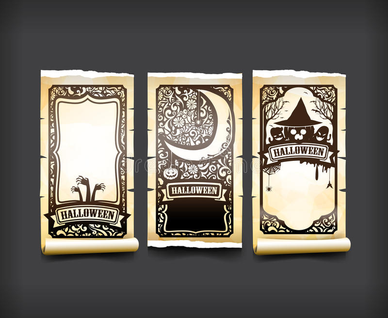 Вектор i карточки хеллоуина классический и винтажный стиля дизайна элемента иллюстрация вектора