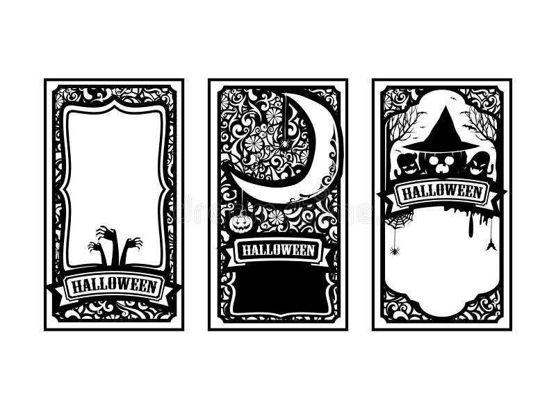 Вектор i карточки хеллоуина классический и винтажный стиля дизайна элемента иллюстрация штока