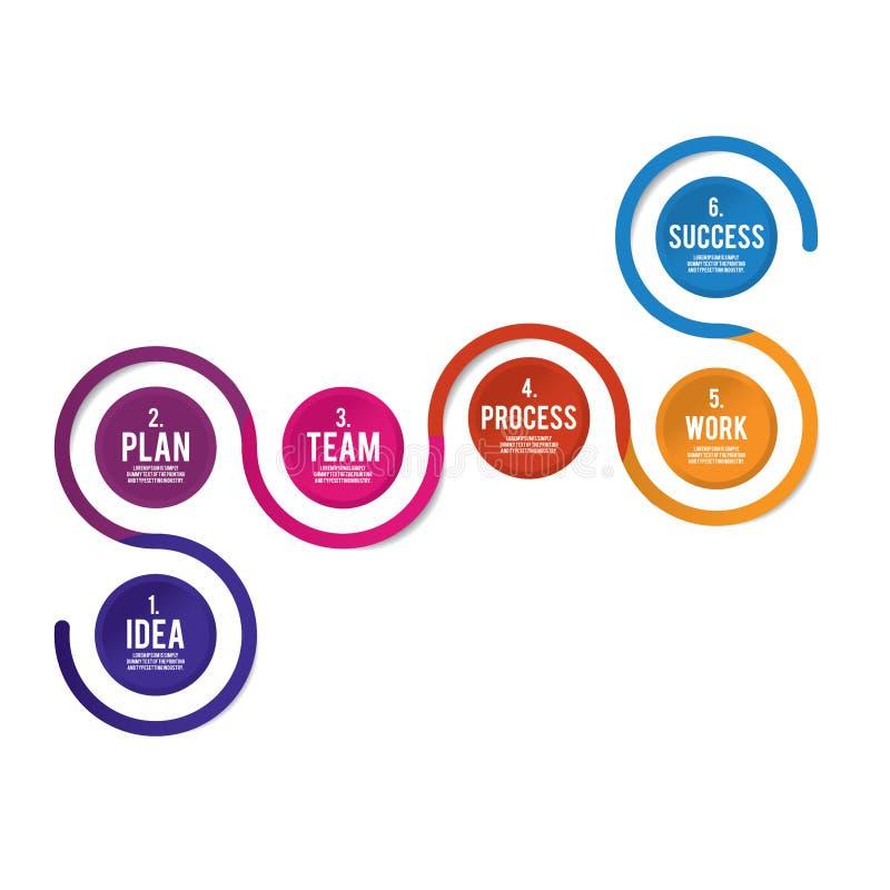 Вектор Infographic в 4 шагах к colorsVector Infographic успеха плоскому в 6 шагах к успеху иллюстрация штока