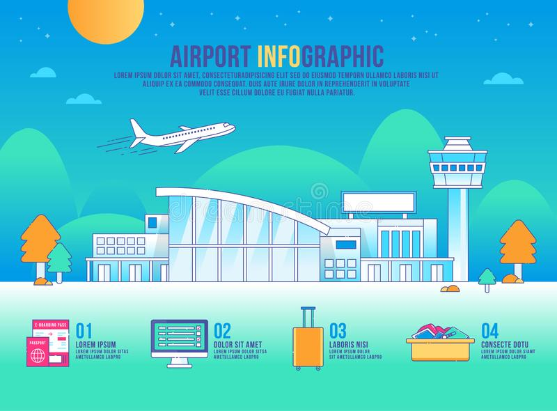 Вектор infographic, здание авиапорта дизайна, график значка, переход, предпосылка современная, ландшафт иллюстрация штока