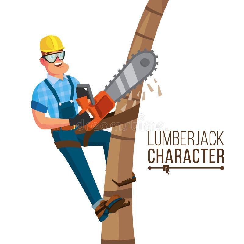 Вектор Lumberjack Классический работник с инструментом цепной пилы руки Концепция обезлесения Характер шаржа плоский иллюстрация вектора