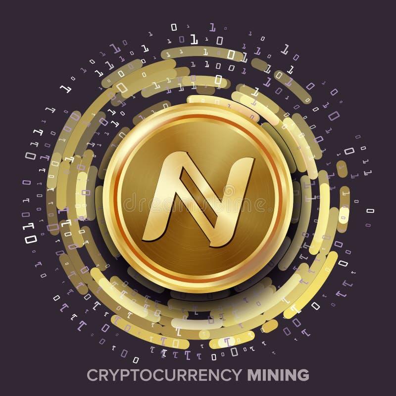 Вектор Namecoin Cryptocurrency минирования Золотая монетка, поток цифров иллюстрация штока
