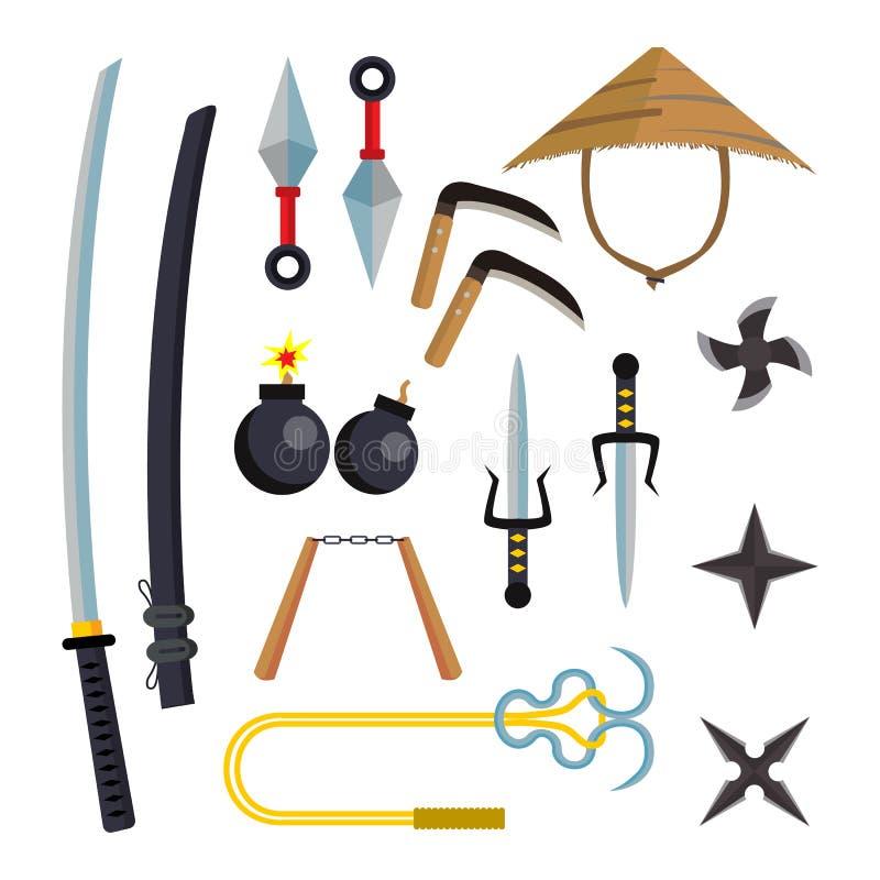 Вектор Ninja установленный оружиями Аксессуары убийцы Звезда, шпага, Sai, Nunchaku Бросая ножи, Katana, Shuriken изолировано иллюстрация штока