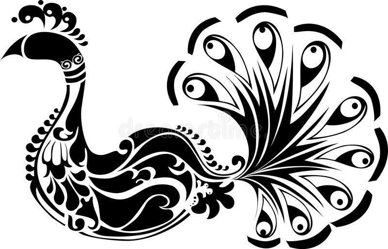вектор peacook птицы орнаментальный иллюстрация вектора