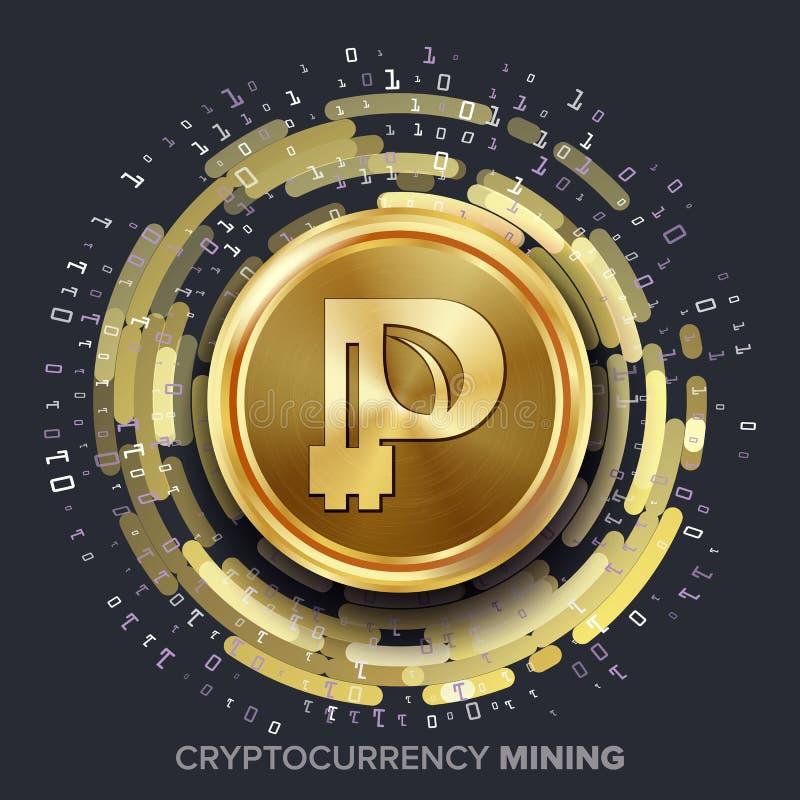 Вектор Peercoin Cryptocurrency минирования Золотая монетка, поток цифров иллюстрация штока