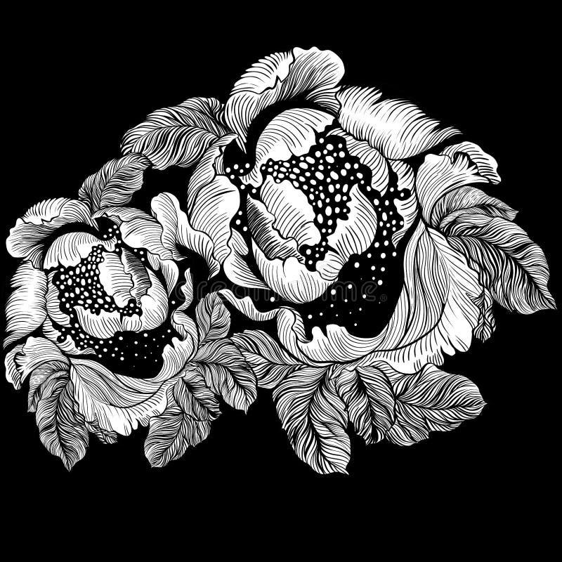 вектор peonies Абстрактные обои с флористическими мотивами обои иллюстрация вектора