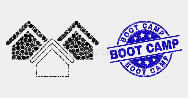 Вектор Pixelated расквартировывает водяной знак лагеря ботинка значка и Grunge иллюстрация штока
