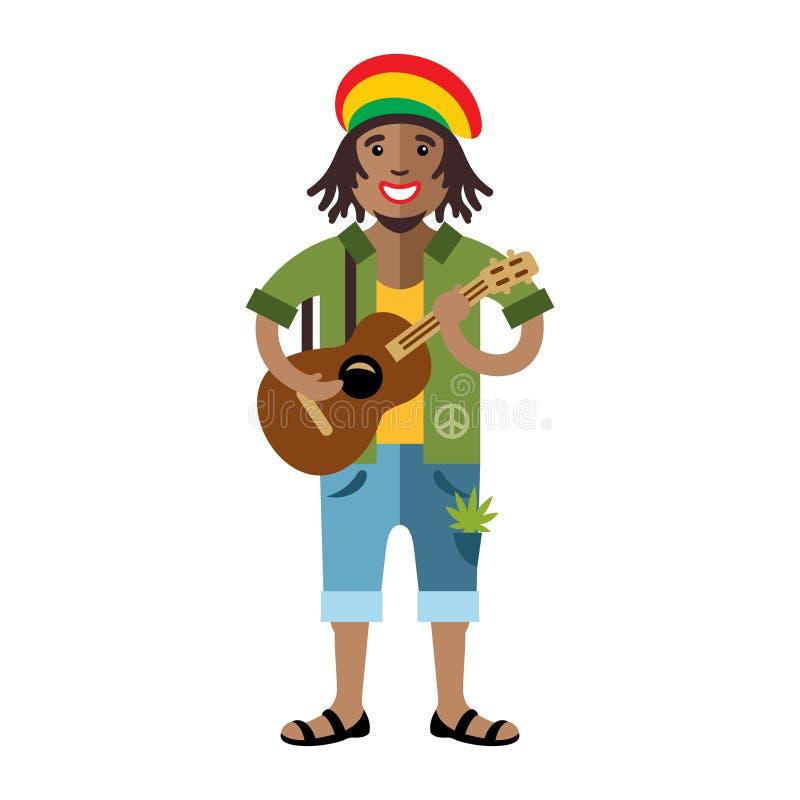 Вектор Rastafarian Иллюстрация шаржа плоского стиля художника регги красочная иллюстрация штока