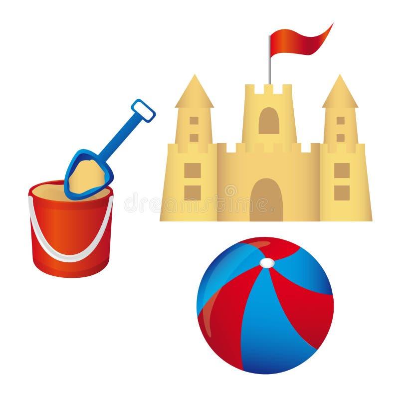 вектор sandcastle установленный иллюстрация вектора