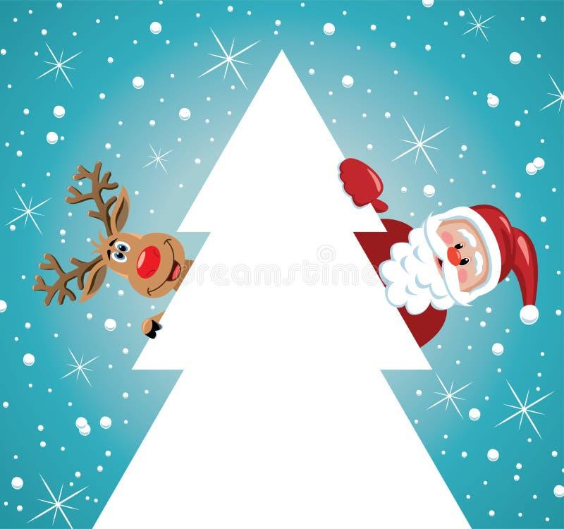 вектор santa, северный олень и рождественская елка иллюстрация вектора