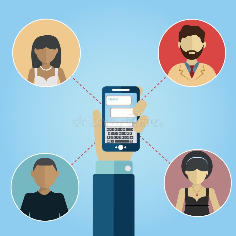 вектор social сети 10 средств eps соединения принципиальной схемы Люди в социальной сети Концепция для социальной сети в плоском  иллюстрация вектора