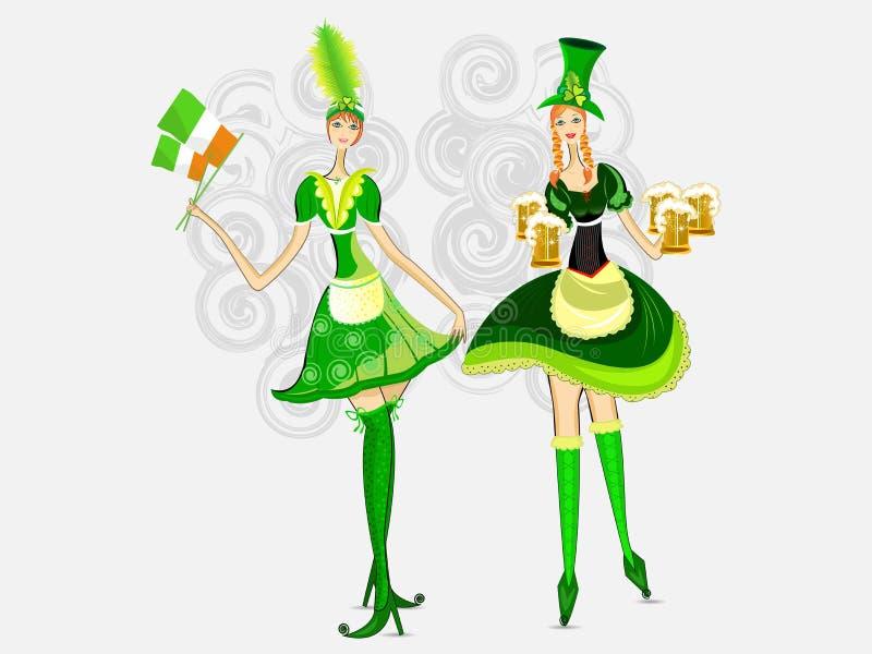 вектор st patrick s девушок дня ирландский иллюстрация штока