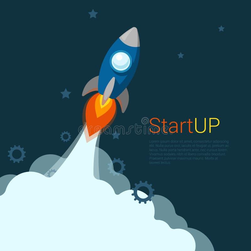 Вектор Startup знамени слайдера вебсайта старта мухы ракеты плоский иллюстрация штока