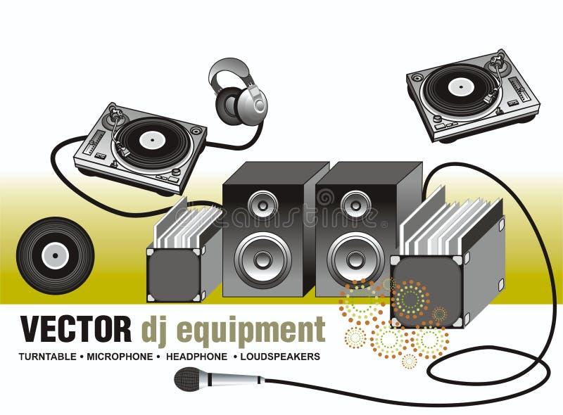 вектор turntable микрофона громкоговорителя иллюстрация вектора