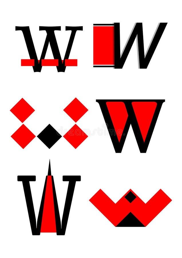 вектор w логосов икон алфавита иллюстрация вектора