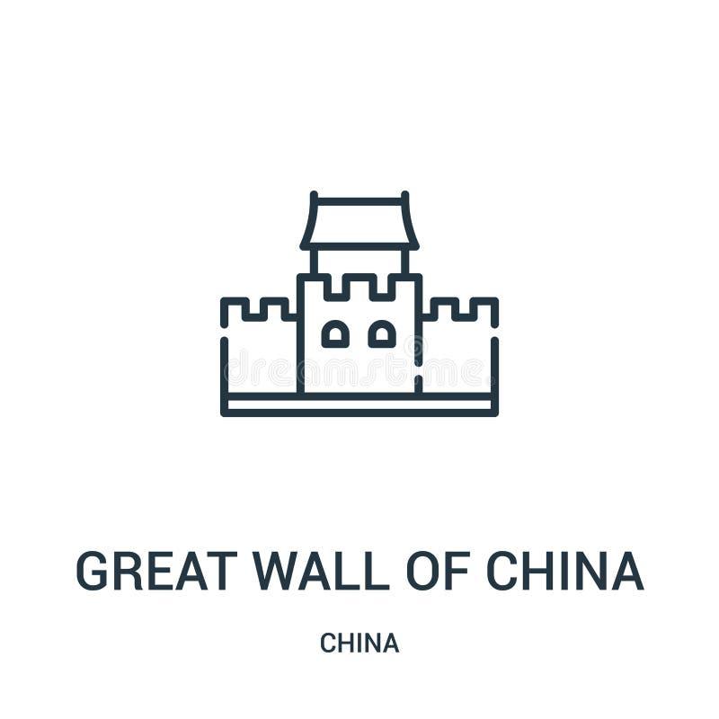 Великая Китайская Стена вектора значка фарфора от собрания фарфора Тонкая линия Великая Китайская Стена иллюстрации вектора значк иллюстрация штока