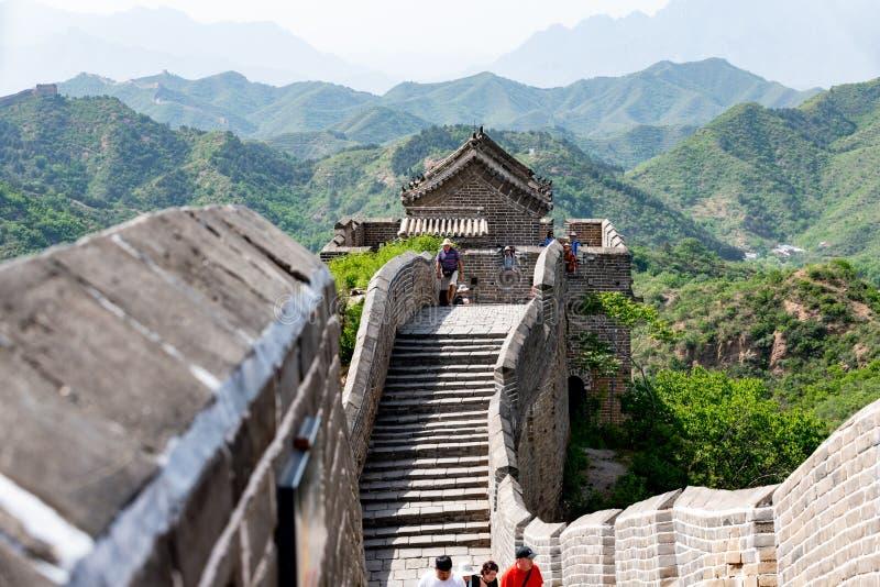 Великая Китайская Стена Китая в провинции Хубэй, Jinshanling в Китае стоковое изображение