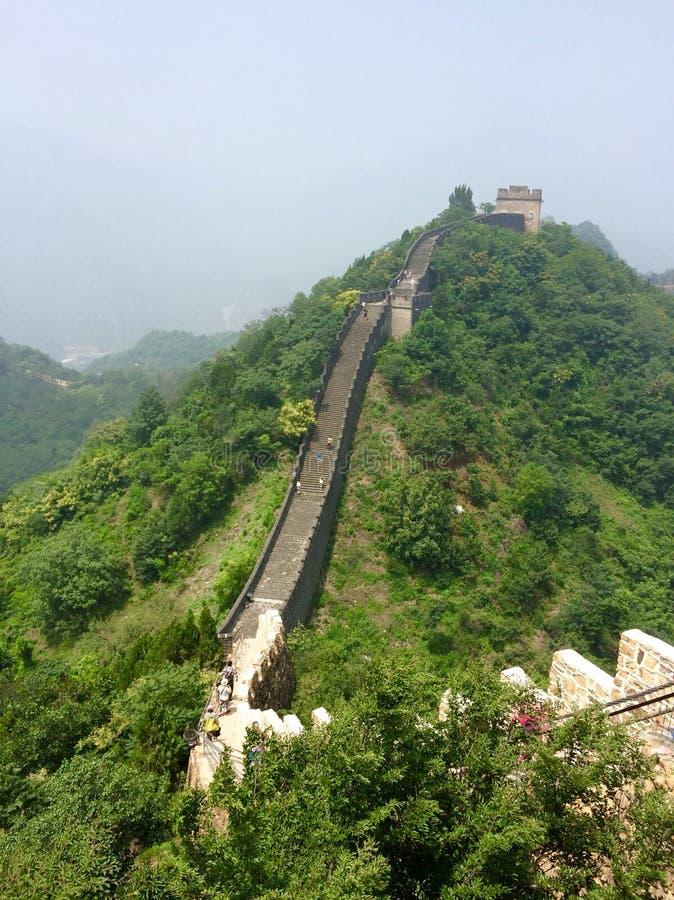 Великая Китайская Стена прогулки Китая длинной стоковые изображения rf