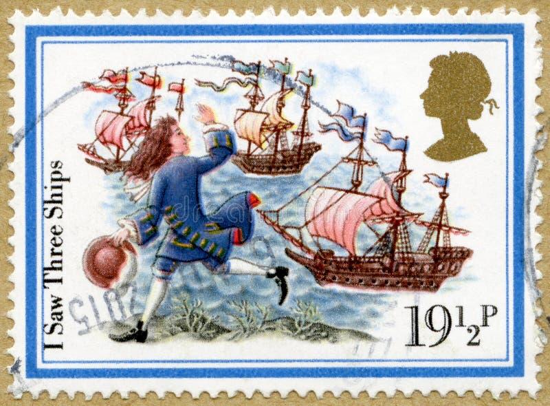 ВЕЛИКОБРИТАНИЯ - 1982: выставки грузят, я увидели 3 корабля, рождественские гимны рождества серии стоковые изображения rf