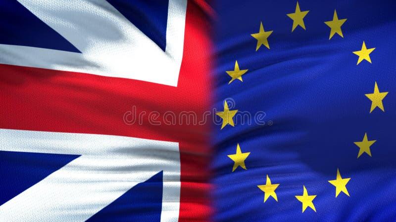 Великобритания и предпосылка флагов ЕС, дипломатический и экономические отношения, торговля стоковая фотография rf