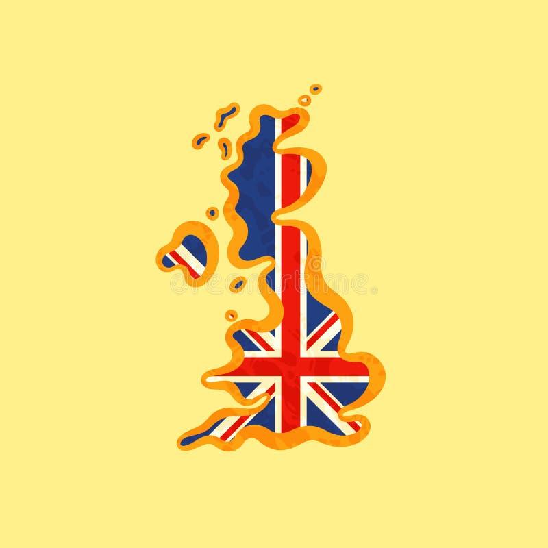 Великобритания - карта покрашенная с флагом британцев бесплатная иллюстрация
