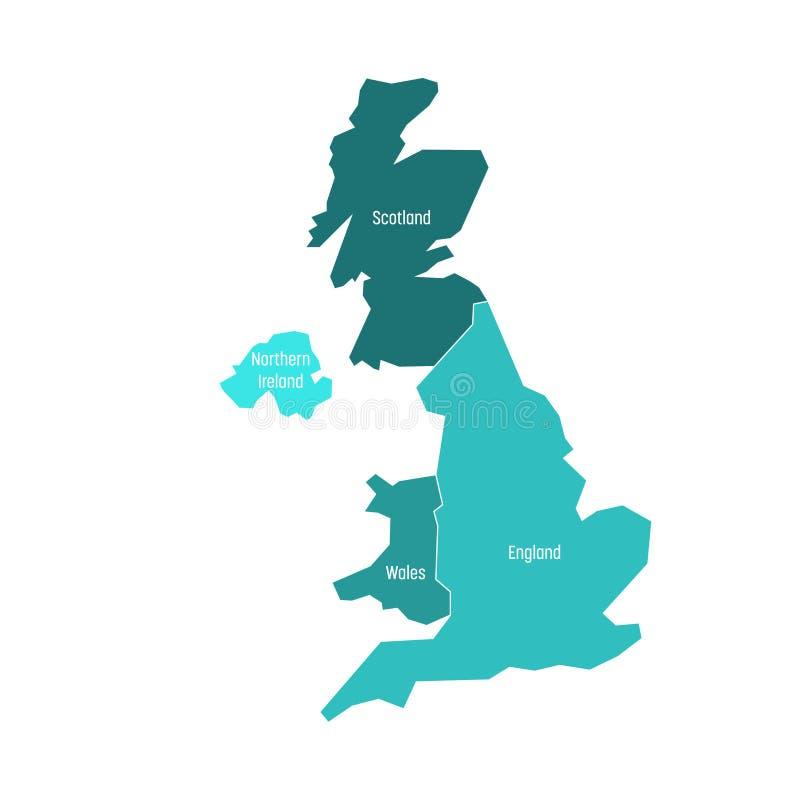 Великобритания, Великобритания, карты Великобритании и Северной Ирландии Разделенный до 4 страны - Англия, Уэльс, Шотландия и иллюстрация штока