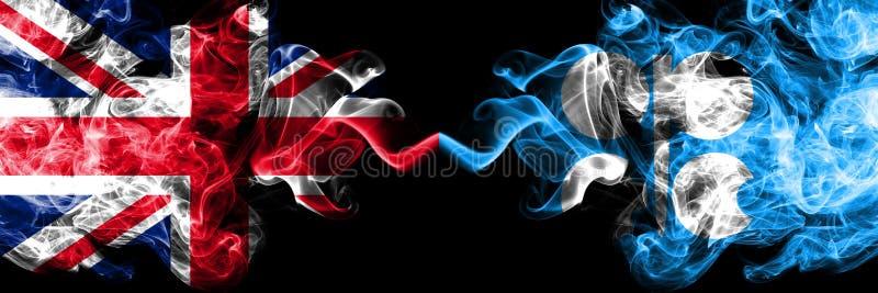 Великобритания против флагов ОПЕК закоптелых мистических установила сторону - - сторона E иллюстрация вектора