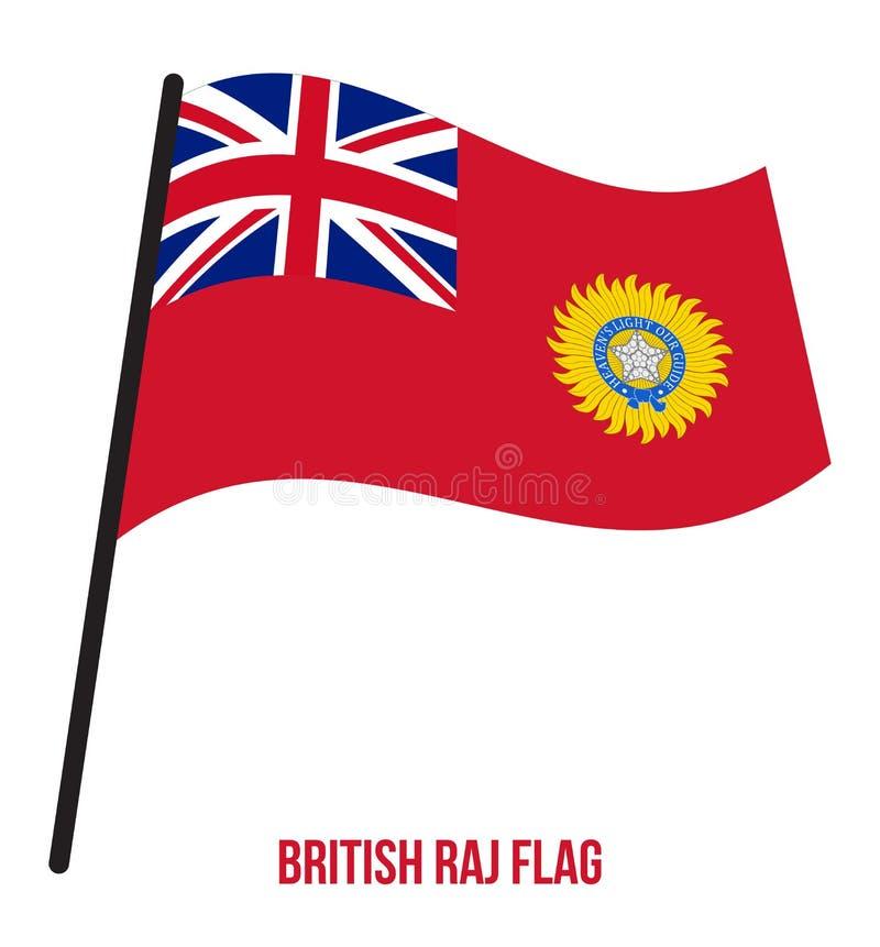 Великобританская иллюстрация развевая вектора флага Raj 1858-1947 на белой предпосылке Флаг Востока Индии Компании иллюстрация вектора