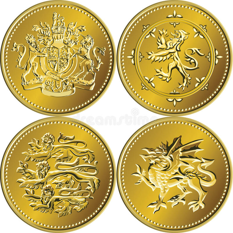 великобританские деньги золота монетки один вектор фунта установленный иллюстрация штока
