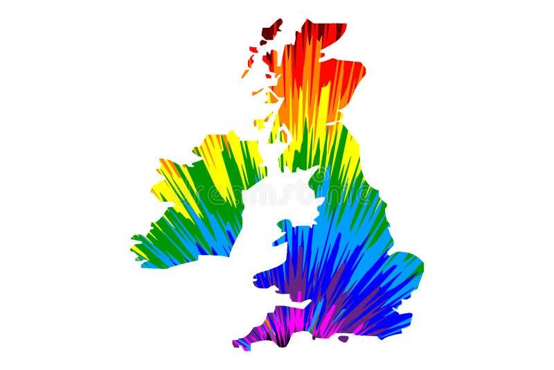 Великобританские острова - карта конструированная картина конспекта радуги красочная иллюстрация штока