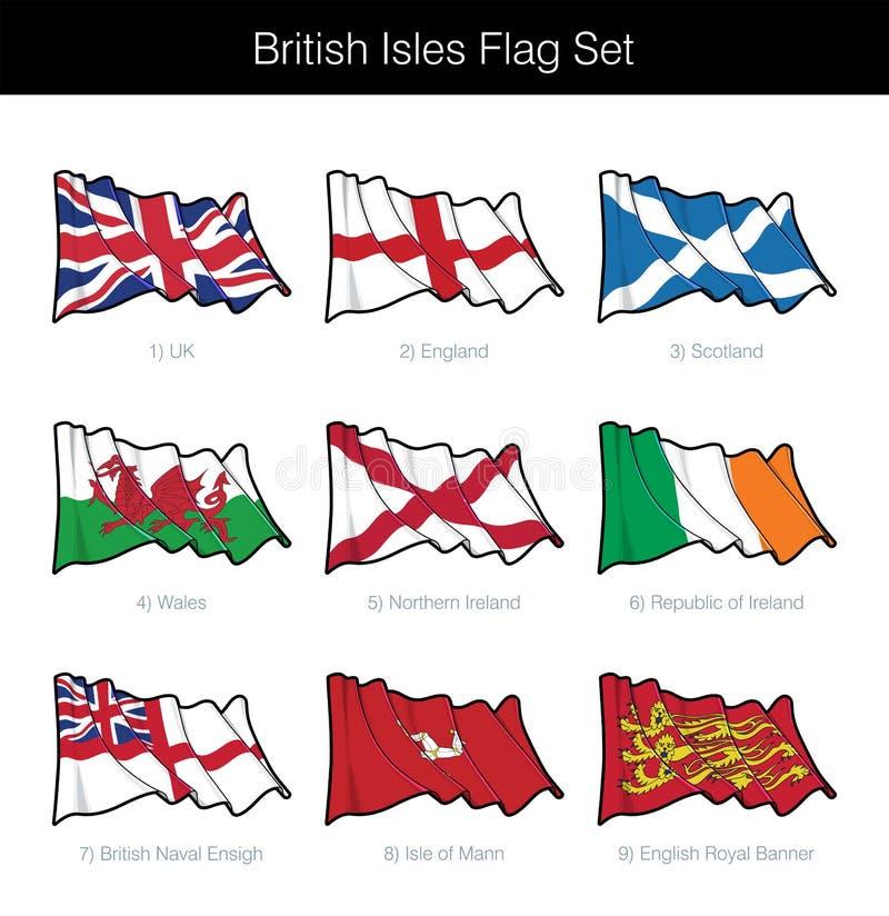 Великобританские острова развевая комплект флага иллюстрация вектора