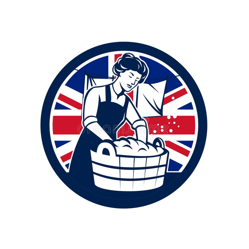 Великобританский значок флага Юниона Джек прачечной иллюстрация вектора